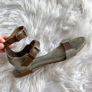 J Crew Army Green Suede Leather Gladiator Sandals